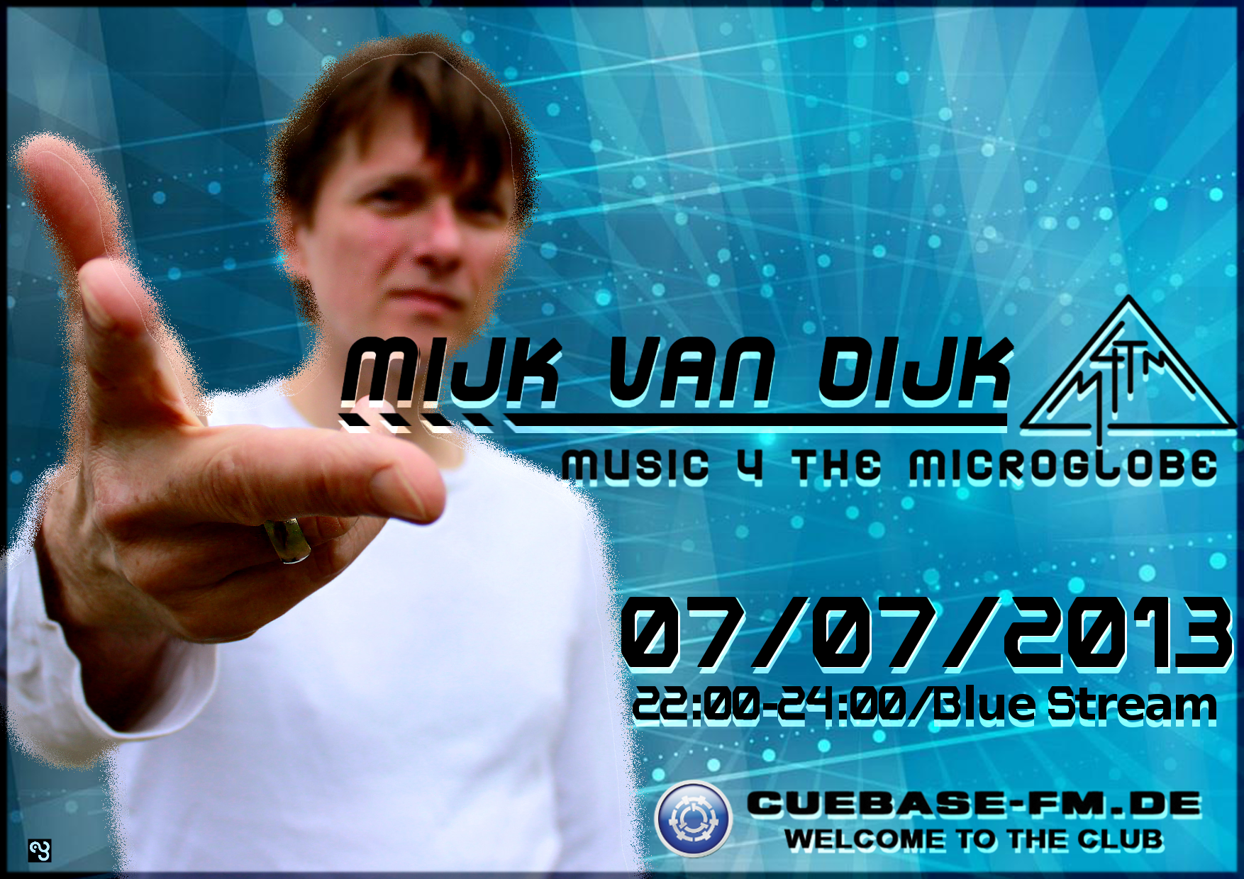 Flyer for Mijk van Dijk's show music 4 the microglobe, July 2013