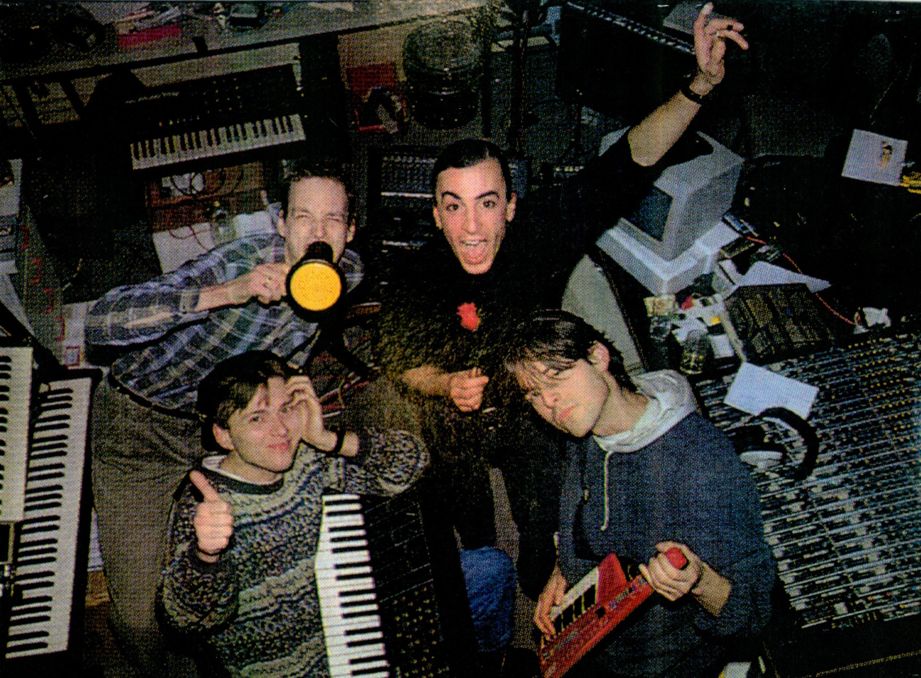 Mijk van Dijk, Johannes Wöhrl, Madeo and Johannes Talirz in the studio