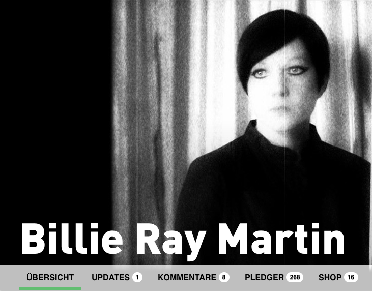 Billie Ray Martin crowdfunding on PledgeMusic