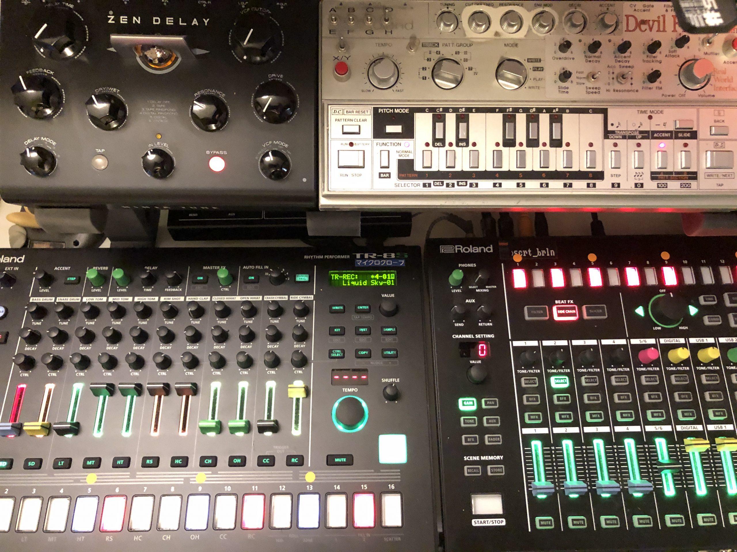 Zen Delay, Devilfish 303, Roland TR-8S, Roland MX-1